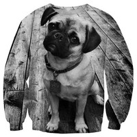 Pug Print Long Sleeve Sweatshirt