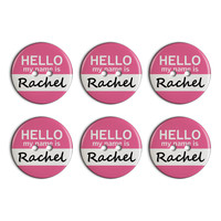 Rachel Hello My Name Is Plastic Resin Button Set of 6