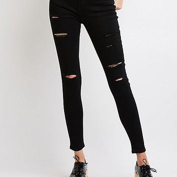 Destroyed Mid-rise Skinny Jeans | Charlotte Russe