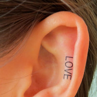 Miley Cyrus Inspired LOVE Ear Tattoo by EARinkFun on Etsy
