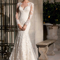 Mori Lee 2725 Lace Long Sleeve Wedding Dress. In Stock.