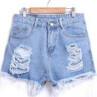 Blue Ripped Fringed Denim Shorts