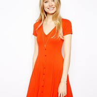 ASOS '90s Skater Dress With Buttons And Short Sleeves - Orange