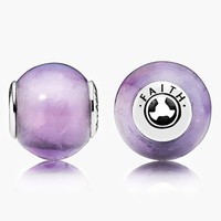 Women's PANDORA 'Essence - Faith' Bead Charm - Sterling Silver/ Amethyst