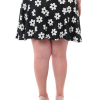 Plus Size Floral Flared Black Skirt, Plus Size Clothing, Club Wear, Dresses, Tops, Sexy Trendy Plus Size Women Clothes