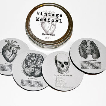 Vintage Medical Chart Anatomy Round Coaster Set of 4 with Storage Gift Tin