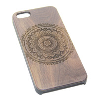 Mandala Datura Floral Wood Engraved iPhone 6s Case iPhone 6 Case iPhone 6s 6 Plus Cover Natural Wooden iPhone 5s 5 Case Samsung Galaxy S6 edge S5 Case D114