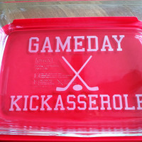 GameDay Kickasserole Pyrex 2 or 3 quart casserole dish Hockey Sticks Lid Included