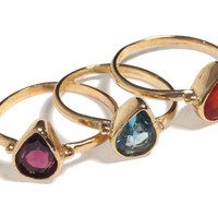 14K Gold Filled stacking delicate drop ring inlaid with colorful gemstone, 14K Gold plated delicate drop ring, Free Shipping