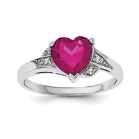 Sterling Silver Created Ruby Heart & CZ Ring