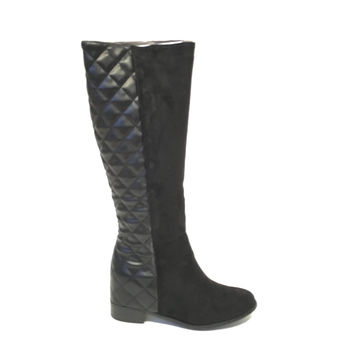 Wedge Knee High Boots In Black