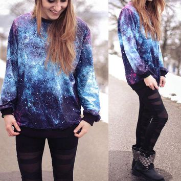 ONETOW Galaxy printed loose round neck Pullovers Tops Sweater