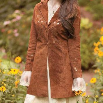 Virginia Suede Coat | Women's Embroidered Suede Jacket