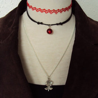 Red Rose Necklace Set of 3 ~ Rose Necklace ~ Red Choker ~ Bohemian Necklace Set ~ Tattoo Choker ~ 90s Inspired Necklace Set ~ 90s jewelry