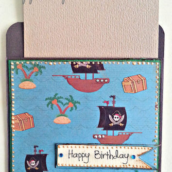 Pirate Birthday Card. Handmade Pocket Card. Ideal for Birthdays, Christening or a Baby Shower