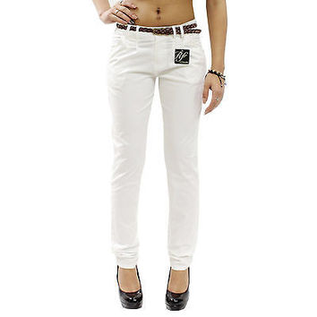 "New White Skinny Chino Loose Fit Pants Junior's 7 Women's 6-8 Waist 30"" RF0217"