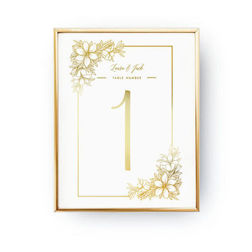 Table Number Flowers, Wedding Decoration, Wedding Signs, Real Gold Foil Print,Wedding Print,Gold Foil Sign Wedding,Wedding Decor,Table Decor
