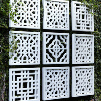 Nine Geometric Fretwork Wall Decor Panels - Horchow