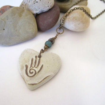 Stone Heart Necklace with Hamsa by 636designs