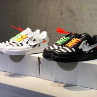 """OFF-White x Nike Air Force 1"" Men Casual Fashion Personality Multicolor Stripe Plate Shoes Couple Sneakers"