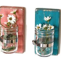 wood sconce mason jar wall vase french country decor shabby chic SET of TWO