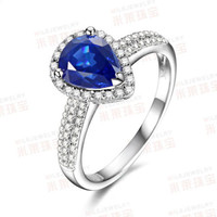 Pear Blue Sapphire Engagement Ring Pave VS Diamond Wedding 14K White Gold FASHION