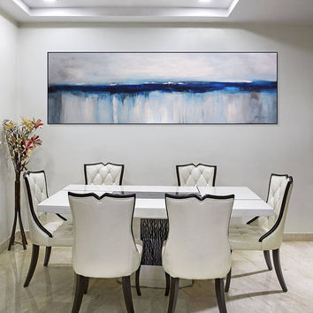 Large Gray White Blue Painting Original Abstract Art/ Large Wall Art Canvas/Abstract Seascape/ Living Room Bedroom Art/ Narrow, Christovart