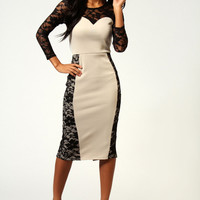 Hatty Lace Sweetheart Neck Midi Bodycon Dress