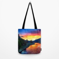 Sunset at Yellowstone Tote Bag by minx267