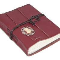 Burgundy Leather Wrap Journal with Cameo Bookmark