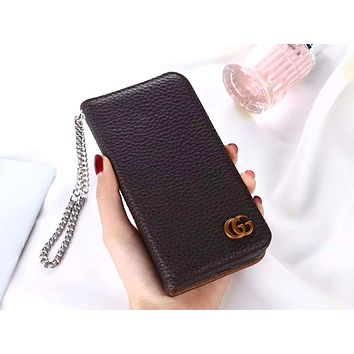 GUCCI Tide brand lychee iPhone 7plus mobile phone case cover #2