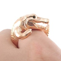 Large Crocodile Alligator Dragon Animal Wrap Ring in Shiny Copper | US Size 4 to 9