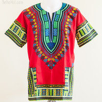 Size XL African Dashiki Kaftan Hippie Festival Colorful Shirt (Red)