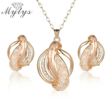 Mytys New Fashion Earring Pendant Necklace Sets Wire Mesh Crystal Jewelry Sets Champagne Gold CN289
