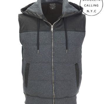 Aeropostale  Brookyln Calling Mixed Media Hooded Full-Zip Vest