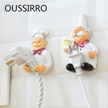 Cartoon Cook Chef Power Plug Socket Storage Holder Rack Decorative Wall Shelf Key Holders Organizer Kitchen Hanging Door Hook