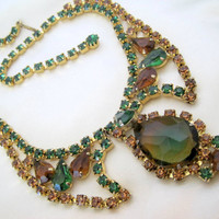Vintage Fabulous D and E Juliana Watermelon Rhinestone Necklace