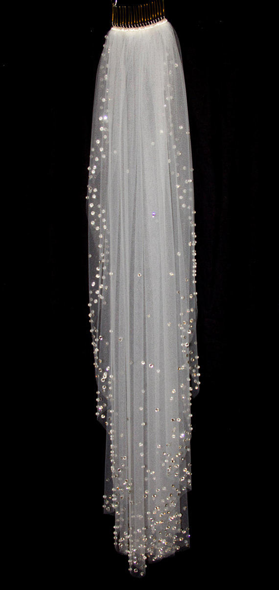 Bridal Veil With Crystal Edge And From Pureblooms On Etsy My