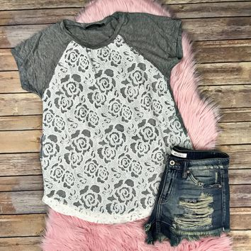 All The Lace & Gray Top