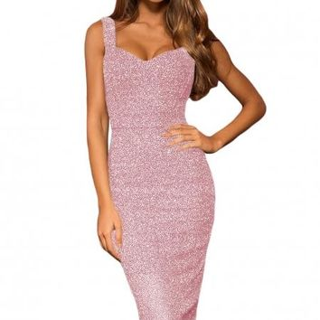 Pink Sleeveless Glitter Party Midi Dress