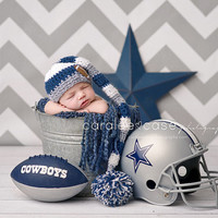 Elf Hat in Blue, White, and Silver/Football/Dallas Cowboys