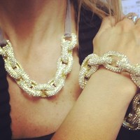 Gold J Crew Inspired Pave Link Tie Back Necklace