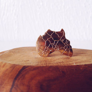 Motherland Africa Ring // African Jewelry, Continent Jewelry, Afrocentric, Gold Ring, Ethnic Jewelry, Statement Ring, Stack Ring, Knuckle