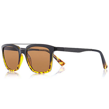 River Island MensBrown over bar textured retro sunglasses