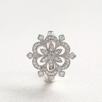Antique Style Engagement Ring - Flower Ring - CZ Diamond Ring - Sterling Silver Ring - Cocktail Ring - Unique Engagement Ring