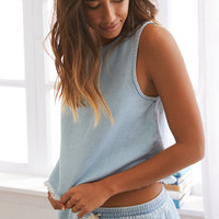 Aerie Denim Fringe Tank , Light Blue