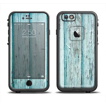 The Subtle Blue Vertical Aged Wood Apple iPhone 6 LifeProof Fre Case Skin Set