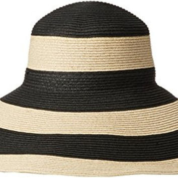 Gottex Women's Breton Stripe Packable Toyo Straw Sun Hat Rated, Black/Gold, One Size