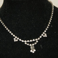 Vintage 1920s Unmarked Rhinestone Necklace Or Choker With Hook Clasp And Drop Center