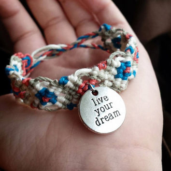 Live Your Dream Bracelet Quote Jewelry Hemp Bracelet Organic Jewelry Micromacrame Cuff Inspirational Jewelry